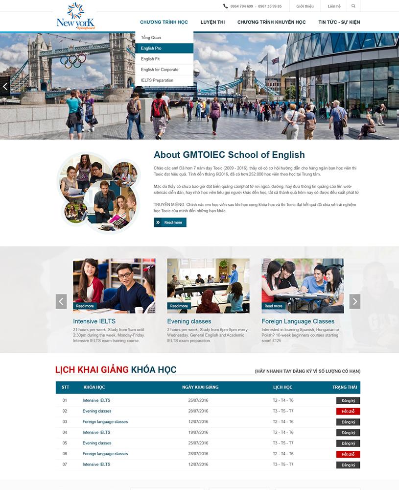Thiết kế website trung tâm anh ngữ