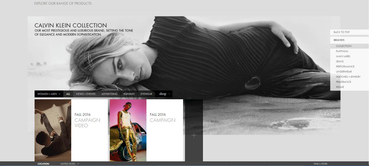 Ngó nghiêng mẫu website bán nước hoa sang trọng của Calvin Klein