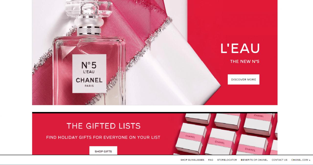 Ngó nghiêng mẫu website bán nước hoa sang trọng của Chanel