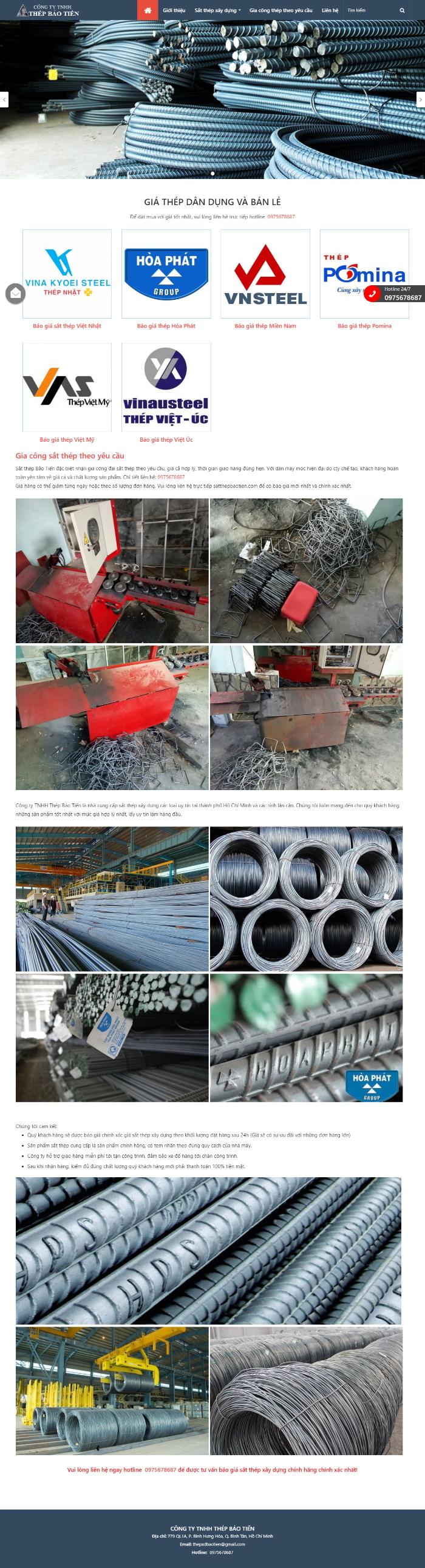Thiết kế trang website sắt thép, vật liệu xây dựng, cát, đá, xi măng